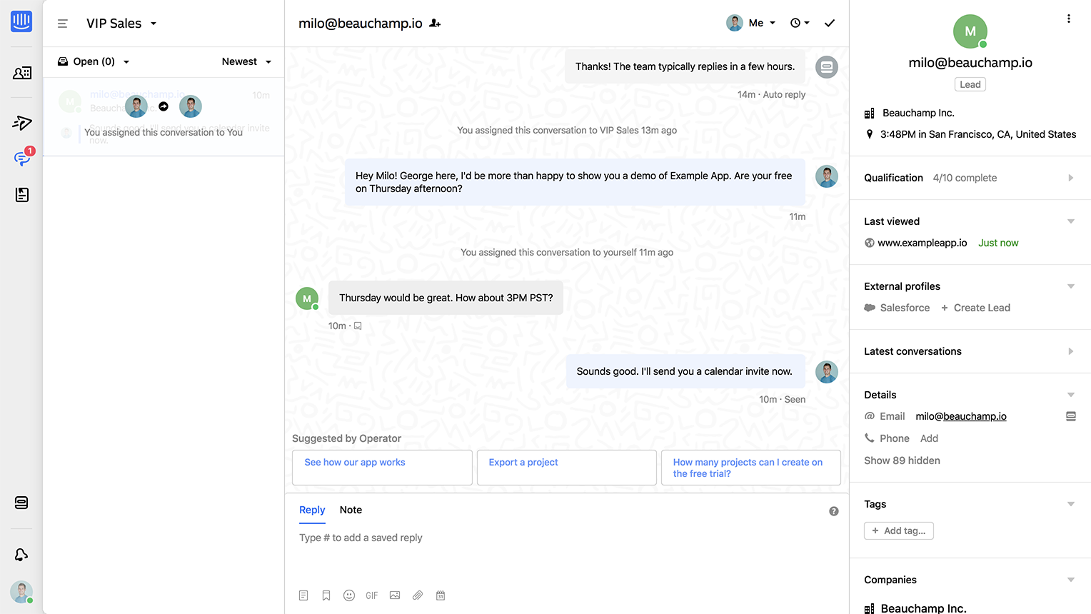 Intercom Inbox shows conversation and visitor data